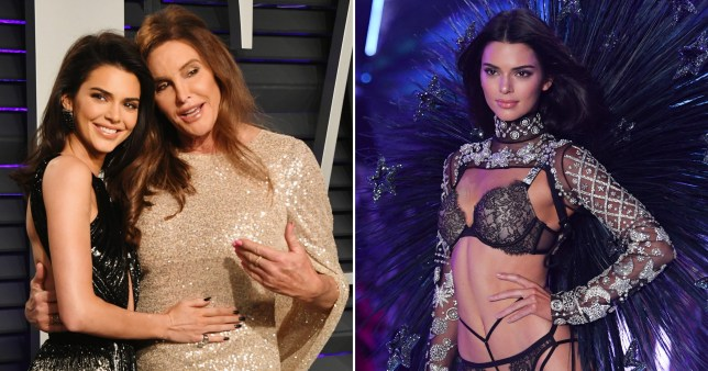 Kendall Jenner and dad Caitlyn at Vanity Fair Oscar party and Kendall pictured on runway for Victoria's Secret