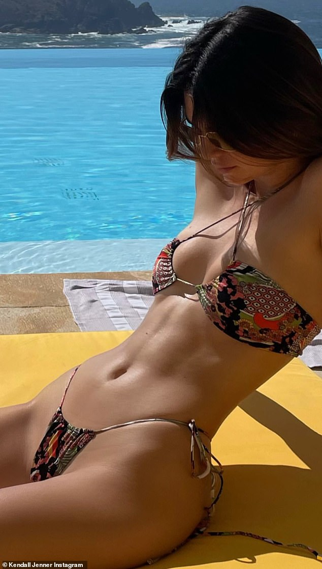Bikini babe: Kendall Jenner heated things up Friday in some sizzling bikini snaps on her Instagram Story, as she continues to vacation with her little sister Kylie at a $7K a night Mexican resort