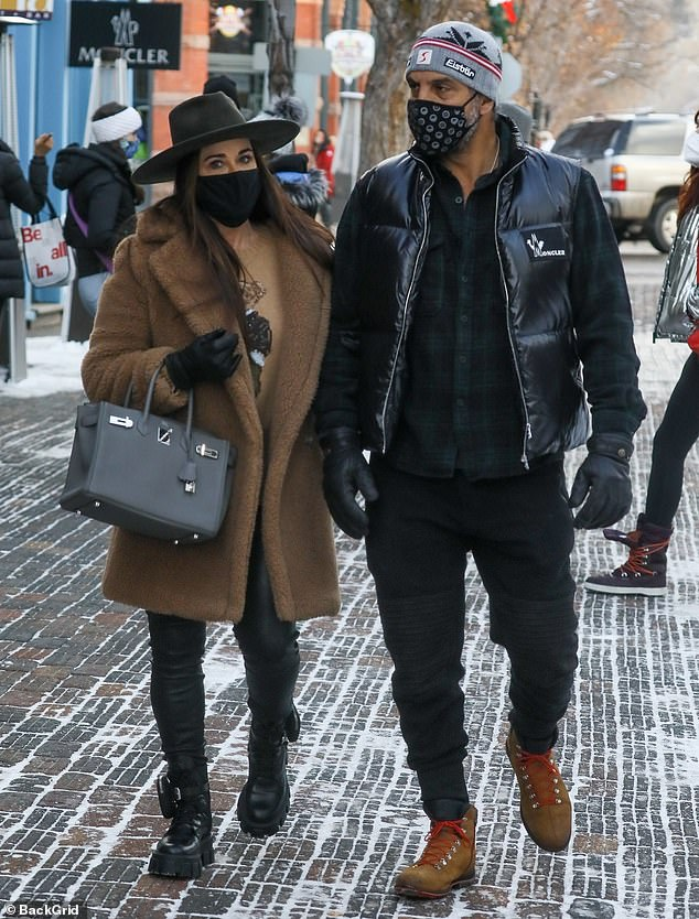 On the town: Kyle Richards, 51, was seen enjoying a day of shopping on Friday in Aspen, Colorado, with her husband Mauricio Umansky and their daughters