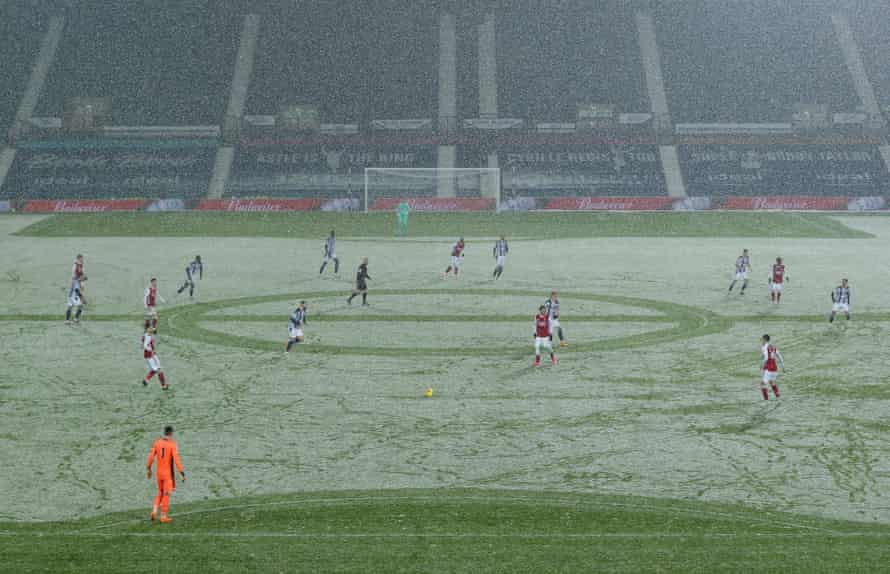 A view of the match amid the snow.