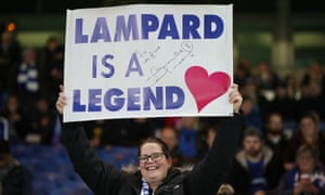A Chelsea fan with a 'Lampard is a legend' banner.