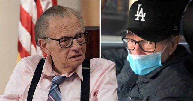 Larry King with a mask on