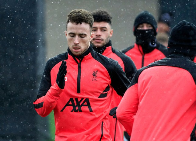 Diogo Jota looks on in Liverpool training