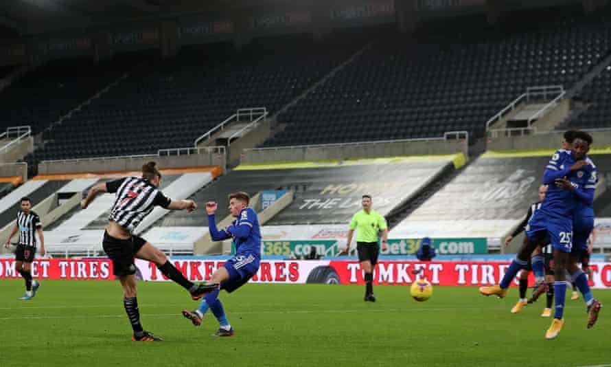 Andy Carroll volleys in for Newcastle - his first goal for the club since 2010.