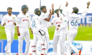 Lasith Embuldeniya (centre) took seven wickets, with Lahiru Thirimanne taking five catches off his bowling.