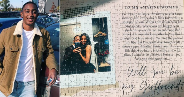 Puzzle with couples pic, next to picture of a man