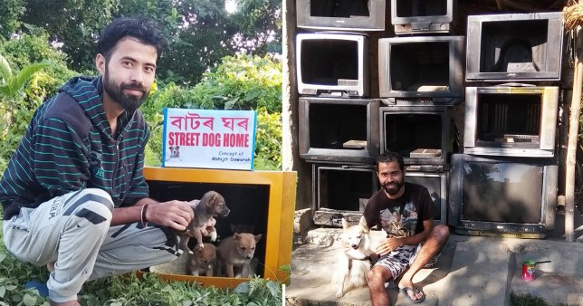 man turns old TVs into cosy homes for stray dogs - ABHIJIT