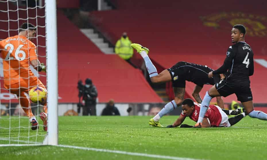 Anthony Martial got between Tyrone Mings and Ezri Konsa to head Manchester United into a 1-0 lead.