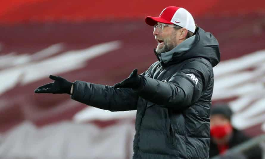 Jürgen Klopp reacts during Liverpool's 1-0 home defeat by Burnley