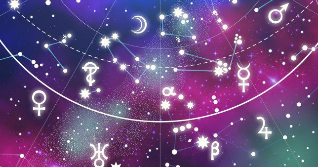 A stylised image of the sky with zodiac symbols on top