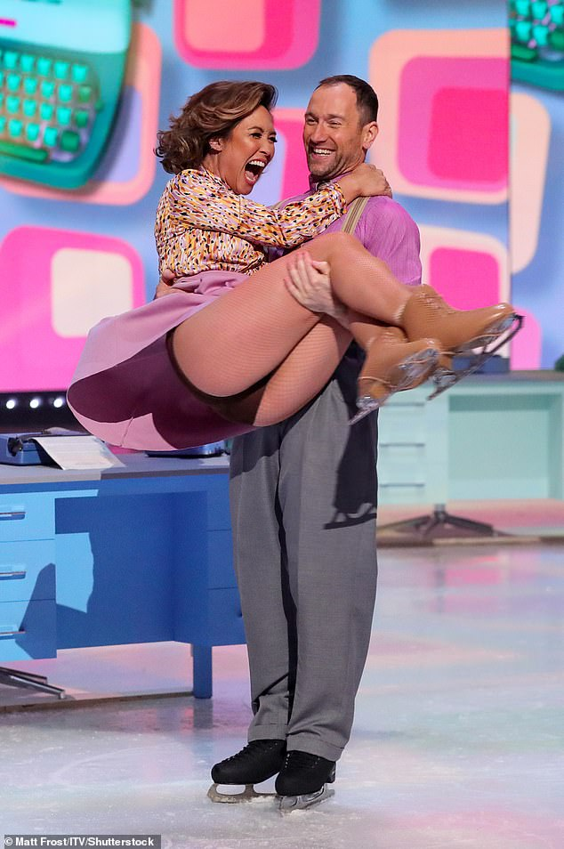 Ouch: Myleene Klass has had a setback ahead of her solo skating debut for Dancing On Ice at the weekend after tearing a cartilage in her knee (pictured on Sunday)