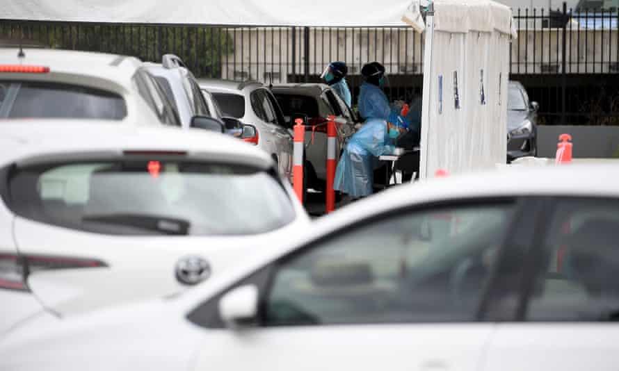 A drive-through Covid testing facility at Auburn in Sydney