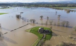 Flooding near Bangor-on-Dee, Wales