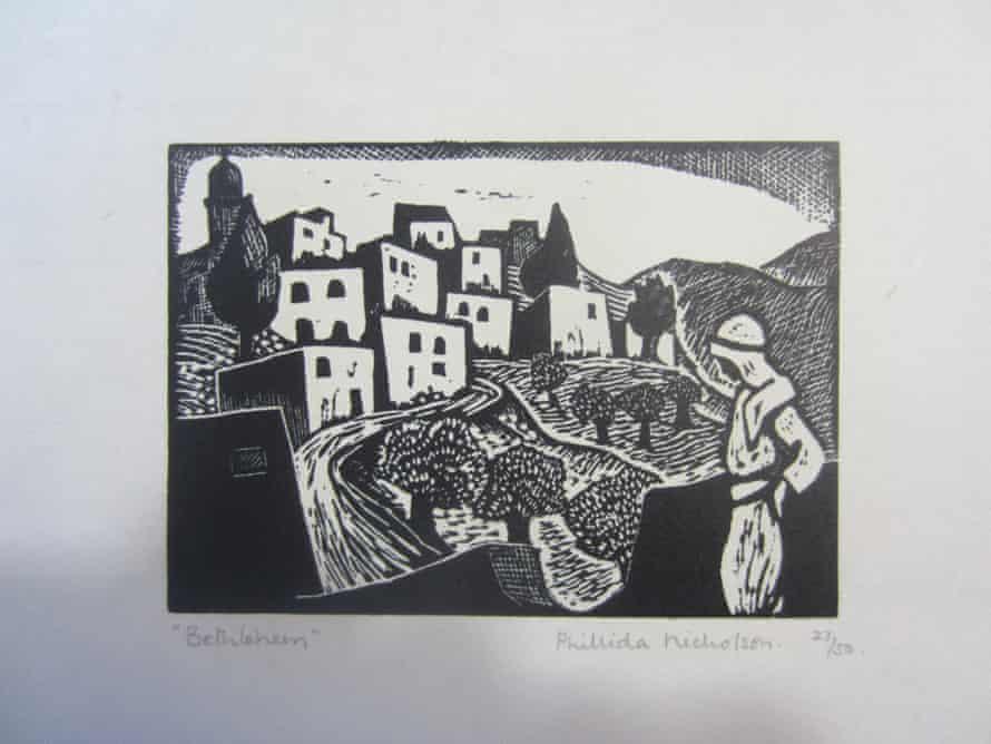Bethlehem, a woodcut by Phillida Nicholson