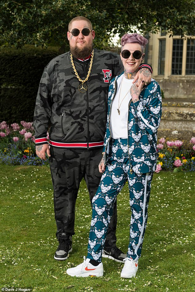 Moving on? Rag'n'Bone Man is reportedly dating a mother-of-three waitress, 13 months after his split from wife Beth Rouy (pictured on their wedding day in May 2019)