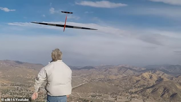 A remote-controlled glider sent flying off Parker Mountain in California has reached a speed of 548 miles per hour - breaking the dynamic soaring speed world record. The pilot, Joe Wurts, tossed the unpowered 'drone' over the side of the mountain and watched it gain speed using wind as its propulsion system
