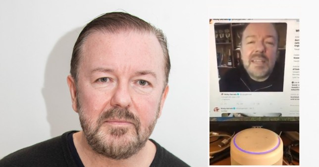 Ricky gervais urged Amazon Echos and Alexa's to buy his new album on twitter clip