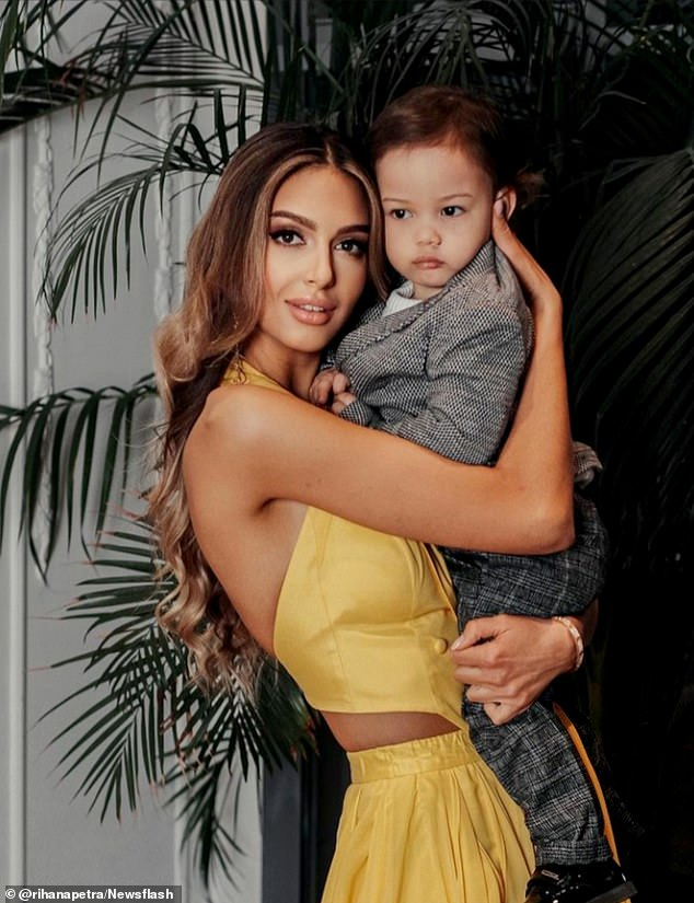 Oksana Voevodina, 28, shared a sweet image of her and her son on her Instagram account