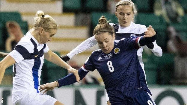 Scotland's Kim Little competes with Ria Oling during a Womens European Championship qualifier between Scotland and Finland at Easter Road on December 01, 2020
