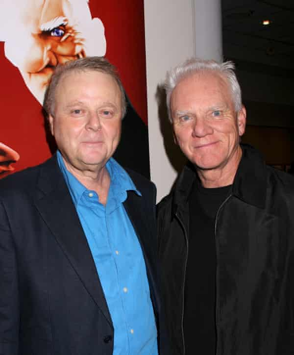 Mike Kaplan, who wrote the 'lost' track for 2001: A Space Odyssey, with the actor Malcolm McDowell, who starred in Kubrick's 1972 film A Clockwork Orange.
