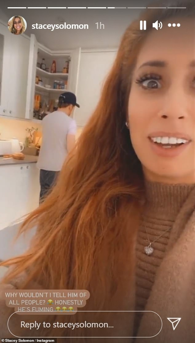 Suspicious: Stacey Solomon has admitted her fiancé Joe Swash is giving her the silent treatment as he is convinced she is the Sausage on The Masked Singer but won't tell him