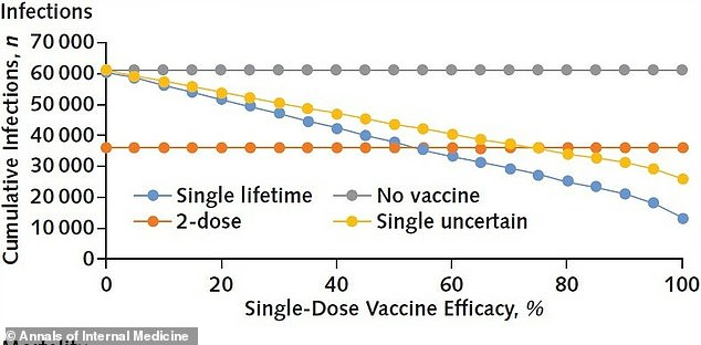 Studies from Yale University and the University of Washington found that one dose of the coronavirus vaccine (yellow and blue lines) is about 50% effective, which could help reduce the number of infections