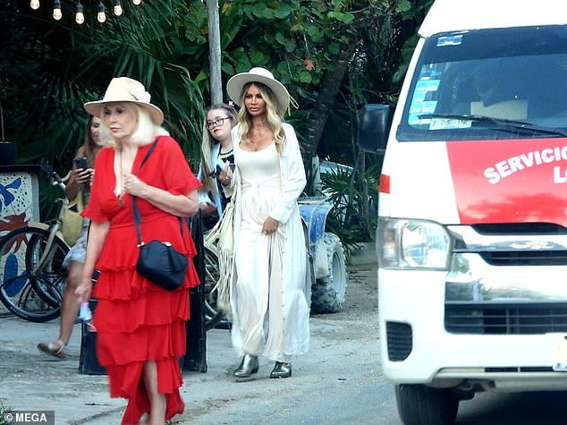 Family outing: Chloe Sims appeared to take a break from her work duties as she and cousin Frankie Essex left Kin Toh restaurant in Tulum, Mexico following lunch on Saturday