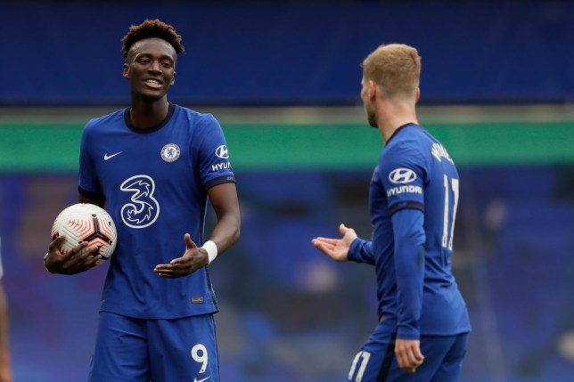 Chelsea's English striker Tammy Abraham (L) and Chelsea's German striker Timo Werner discuss taking the second penalty during the English Premier League football match between Chelsea and Crystal Palace at Stamford Bridge in London on October 3, 2020.