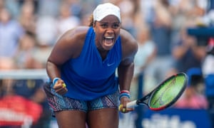 Taylor Townsend celebrates her victory against Simona Halep at the 2019 US Open.