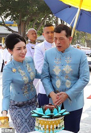 King Maha Vajiralongkorn, 68, crowned Sineenat Wongvajirapakdi on Tuesday, her 36th birthday