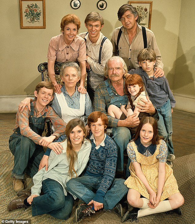 Bringing them back: Various cast members from The Waltons are set to participate in a reunion on the benefit program Stars In The House; the main cast is seen 1972