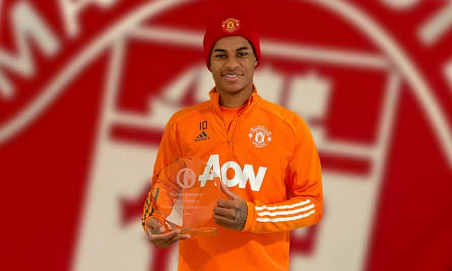 Marcus Rashford receives the Guardian footballer of the year award for 2020.