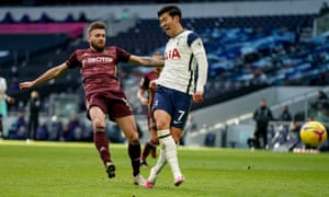 Tottenham Hotspur forward Son Heung-Min scores a goal to make the score 2-0.