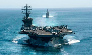 The aircraft carrier USS Nimitz (front) and the guided-missile cruiser USS Philippine Sea in the Strait of Hormuz transit on 18 September 2020.