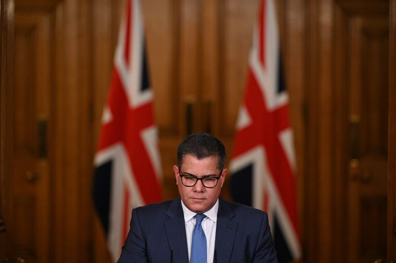 © Reuters. Britain's Business Secretary Alok Sharma attends a virtual news conference on COVID-19 at 10 Downing Street, in London