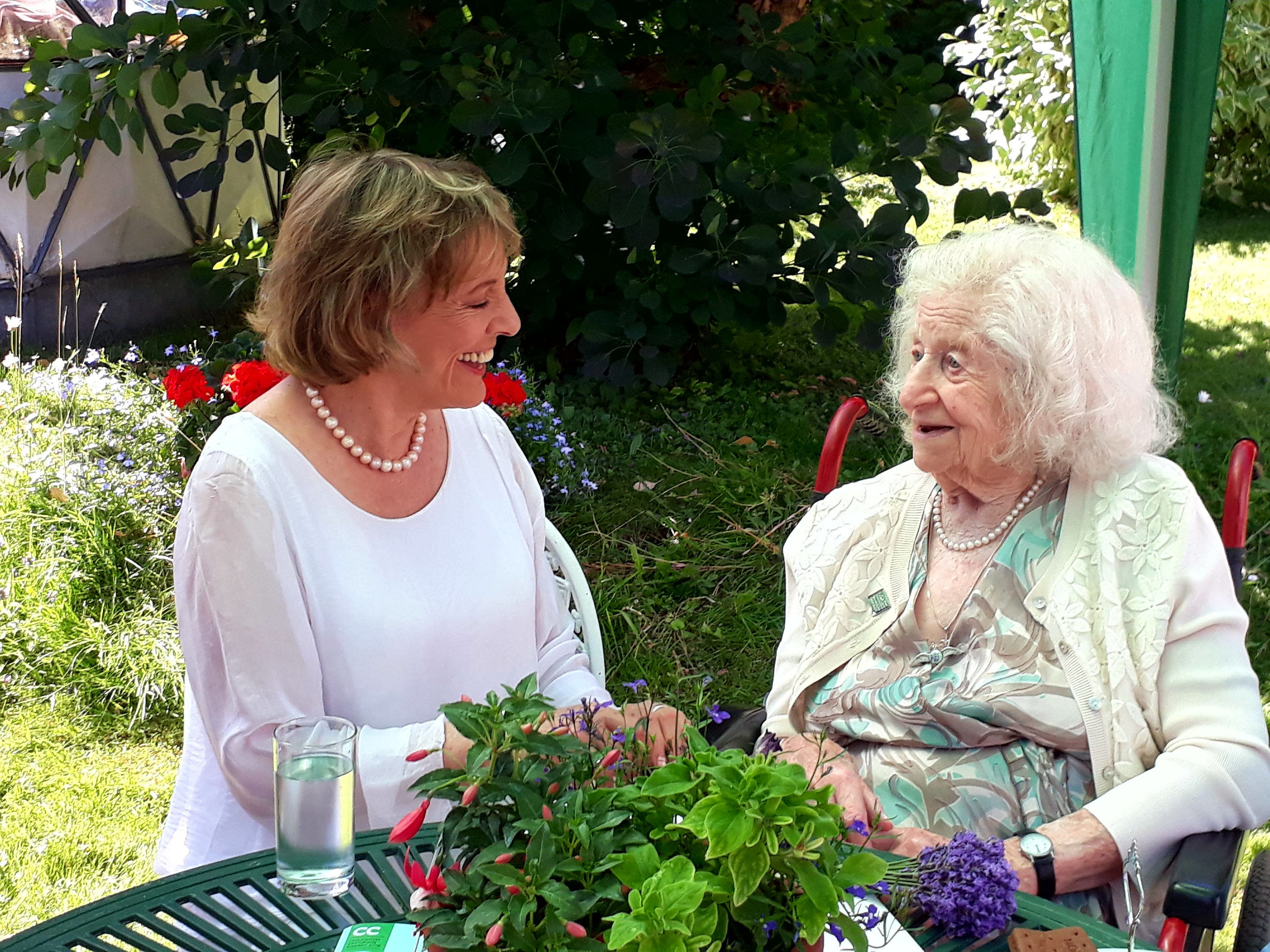 <p>106-year-old NSPCC volunteer Anne Baker pictured with Dame Esther Rantzen</p>
