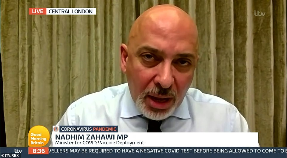 Nadhim Zahawi said goal of covering more than 13million of the most vulnerable within seven weeks was 'very stretching' – but can be delivered