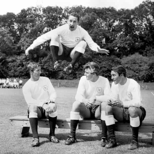 Dave Mackay leaps over his Tottenham teammates Cliff Jones, Ron Henry and Jimmy Greaves in 1965