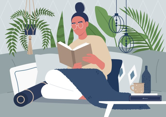 Young female character reading a book, cozy interior, tropical plants, pillows and boho style decorative elements, interior design