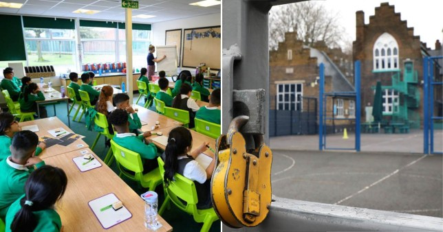 Comp of pupils in a classroom and an empty school playground