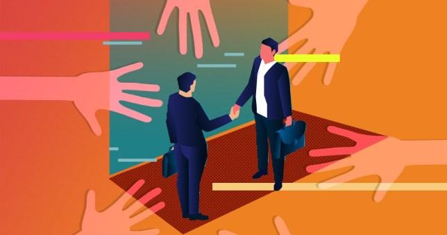Illustration of men shaking hands