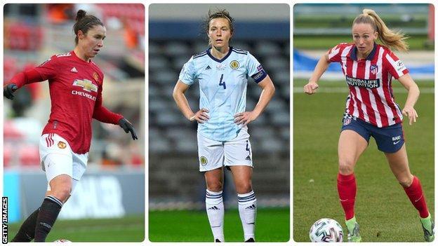 Jane Ross (Manchester United), Rachel Corsie (Birmingham City), Toni Duggan (Atletico Madrid)