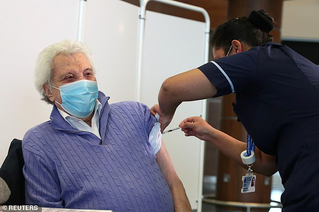 Injected:Veteran star Lionel received the first of two COVID vaccine jabs last month