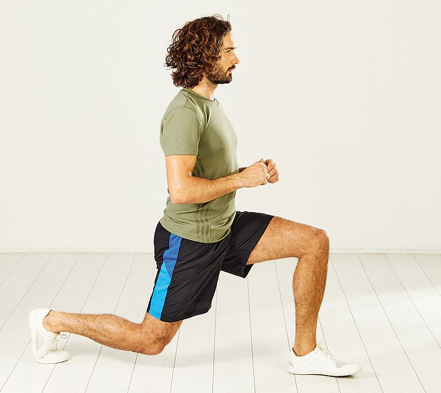 Keep your back straight as you step forward with one foot and bend both knees into a lunge