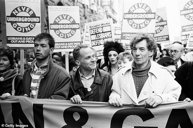 Activist: McKellen, right, came out in 1988 as a protest against Prime Minister Margaret Thatcher's section 28 that forbade local government and schools from 'promoting homosexuality'
