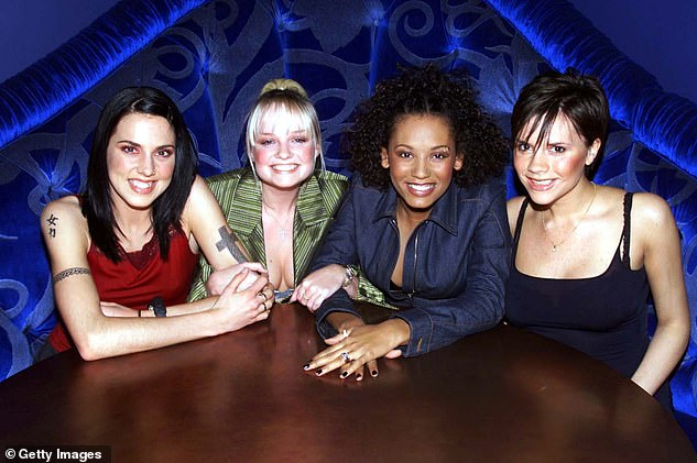 Girl group: She also admitted she's made peace with the fact she will always be remembered as a Spice Girl (pictured left with with Emma Bunton, Mel B and Victoria Beckham in 1998)