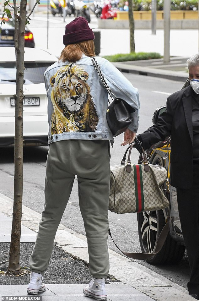 Unique: The unusual denim jacket featured a huge lion emblazoned on the back
