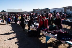 Villagers at the weekly market in the village of Sary-Mogol