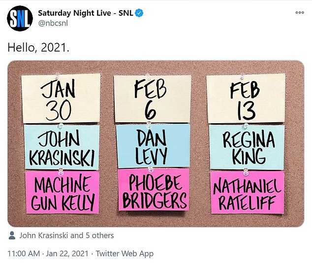 2021 slate:In their usual style, SNL made the big reveal on index cards which were mocked up with the names of the hosts, the musical acts and the dates and then shared to Twitter