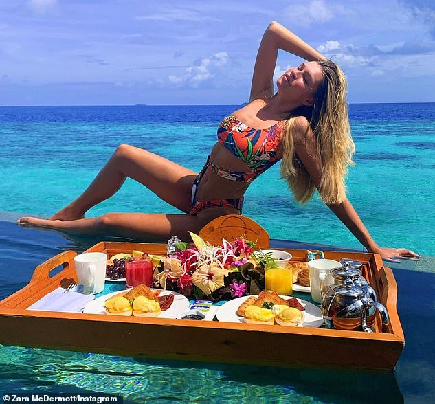 Idyllic: Sam and Zara last holidayed together in the Maldives in December 2019, staying at luxury hotel Ayada (Zara pictured in the Maldives in Dec 2019)
